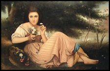"* Young Lady with Wild Flowers, 36""x24"" Oil Painting on Canvas, Hand Painted"