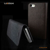 iPhone 5S SE 5 Case Genuine LAXDUN Real Leather Flip Wallet Card Holder Cover