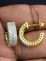 Pave 1,08 Cts Naturel Diamants Demi Ronde Clous Boucles d'oreilles En 750 18K Or