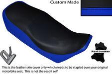 BLACK &R BLUE CUSTOM FITS YAMAHA XJ 750 SECA 81-83 LEATHER DUAL SHORT SEAT COVER