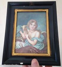 """Cadre Miniature Scéne Greuze """"Le jeune berger"""" signé Brilli"""