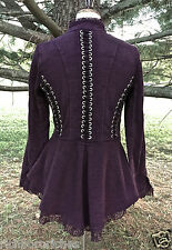 NEW Free People Jacket Coat Victorian Lace Up plum lace peplum stretch X/S $168