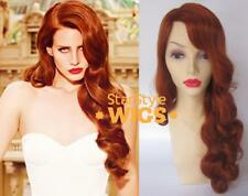 DELUXE LANA DEL REY LONG CURLY ORANGE RED RETRO HEAT RESISTANT FASHION WIG