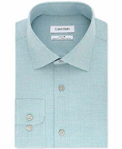 Calvin Klein Mens Dress Shirt Green Size 17 1/2 XL Micro Check Stretch $79 022