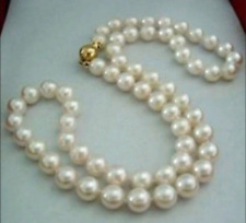 """Natural 8-9MM White Akoya Pearl Necklace 17"""" 14K GP"""