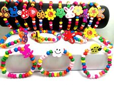 500X wood wooden kids children's party birthday wristband bracelets wholesale