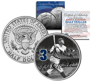 """Babe Ruth """"Hitting"""" JFK Kennedy Half Dollar US Coin *Officially Licensed*"""