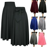 Womens High Waist Pleated A Line Long Skirt Front Slit Belted Party Maxi Dress T