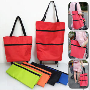 Foldable Shopping Cart Trolley Portable Folding Grocery Wheels Market Tote Bag