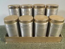 VINTAGE MID CENTURY ALUMINUM SPICE SET RACK AND SPICE CONTAINERS