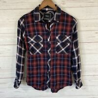 Rails Long Sleeve Button Front Plaid Shirt Womens Small Maroon Blue 100% Rayon