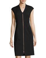 NEW Lafayette 148 Imani Sleeveless Zip-Front Sheath Dress in Black Size 6 #D288