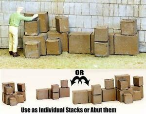 HO Scale Cardboard BOX PILES over 20 in 3 Stacks for quick bulk detailing