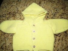 Yellow Hand Knit Hooded Cardigan Sweater