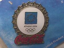 ATHENS 2004 OLYMPIC LAPEL PIN COLLECTIONS: US COCA-COLA COKE SILVER MINI BADGE I