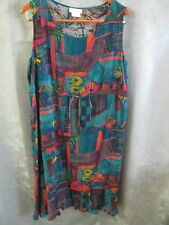 Vintage 90's Sarah B. Studio SunDress Size 14 Abstract Print Drawstring Waist