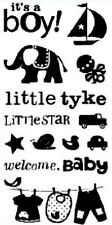 NEW Inkadinkado Baby Boy Clear Stamp Set of 13 Scrapbooking Welcome LITTLE 97605