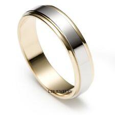 MENS 10K TWO TONE GOLD WEDDING BANDS,SATIN FINISH MENS WEDDING RINGS 5MM
