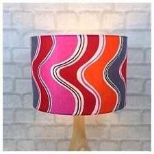"Vintage 60s 70s Psychedelic Fabric 30cm / 12""  Lampshade Pink Orange Grey"