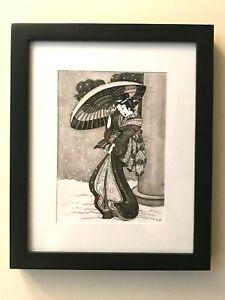 "Original Drawing from Japan Art. Ink & nib. ""Woman.''"