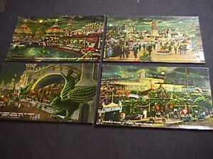 4 CONEY ISLAND, NEW YORK BY NIGHT VINTAGE 1917-1920 POSTCARDS