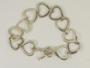 Heart Link Bracelet Sterling Silver Ladies Stunning 925 8.2g Jr17