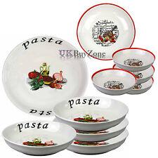 Large 5 Piece Pasta Bowls Plates Dinner Set Spaghetti Salad Dish Italian Cuisine
