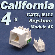 4 X Pcs CAT3 Keystone Jack RJ11 6P4C Phone Telephone RJ12 Modular White CAT 3
