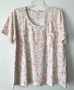 NEW J.JILL Sleep L XL Ultrasoft Relaxed Tee S/S Cotton Pocket Floral Pink