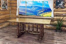 Log Trestle Table,  6 Ft, Amish Made Log Kitchen Tables, Lodge Cabin Furniture