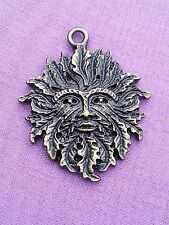 2 X 3D BRONZE GREEN MAN with OAK LEAVES 30mm x 25mm Charm Pendant Pagan Wiccan