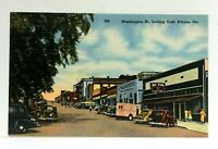Athens Georgia Washington Street Looking East Vintage Cars Linen Postcard