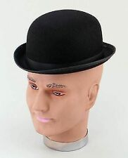 Adult Black Felt Bowler Hat Victorian Edwardian Fancy Dress Costume Prop