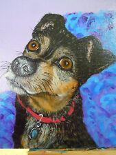 Mountain Feist, Jack Russell Terrier Dog Hand Painted Acrylic Painting