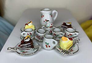 "Eledoll 1:6 Dollhouse Mini VINTAGE Tea Set & Cake, Fork For 11.5"" Fashion Doll"