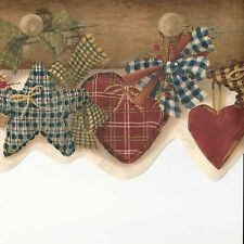Country Folk Art Fabric Hearts, Stars & Bows Pegs - ONLY$9 Wallpaper Border A404