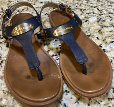 MK Michael Kors Plate Thong Buckle Flat Sandals Leather Navy Womens Size 7 1/2 M