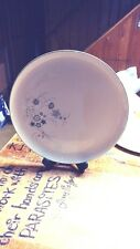 ANTIQUE FLORAL PLATTER CREAMY WHITE WITH GRAY & BLUE FLOWERS ROUND GOLD EDGE 13""