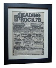 READING FESTIVAL+ROCK+1978+POSTER+AD+FRAMED+ORIGINAL+EXPRESS+GLOBAL SHIP+TICKETS