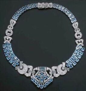 Beautiful Emerald Cut 82.34CT Aquamarine & Clear White CZ Fine Choker Necklace