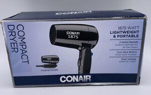 Conair 124TR Folding Hair Dryer 1875 Watt – Black Compact Lightweight