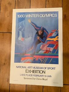 """1980 WINTER OLYMPICS SPORT SPEED SKATING LAKE PLACID EXHIBITION POSTER 20 X 30"""""""