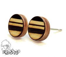 Ohrstecker Holz 9mm rund gebrannt 3 Streifen breit braun Muster Ethno Bohemian