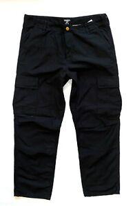 Mens * CARHARTT WIP Black Regular Cargo Combat Pant/Trousers Size 34 L34