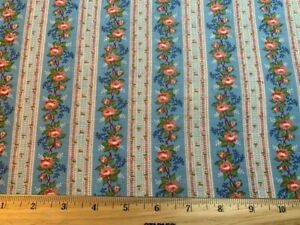 Antique Vintage Cotton Fabric Chic not Shabby Floral Rose Ticking Stripe 29w 1yd