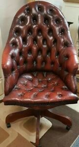 Vintage Oxblood Red Leather  Executive Directors Chesterfield chair
