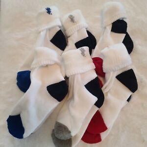 Ralph Lauren Boys Socks Crew White Red Black Pony Size 4-7 RL-207