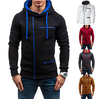 Mens Winter Slim Hoodie Warm Hooded Sweatshirt Coat Jacket Zip Sweater Outerwear