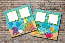 Beach Fun Sea Ocean Animals 2 PRINTED Premade Scrapbook Pages BLJgraves 52