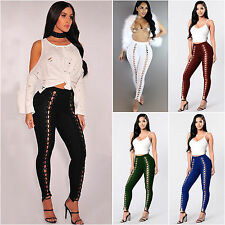 Womens Lace Up Skinny Legging Pencil Pants High Waist Bandage Stretch Trousers